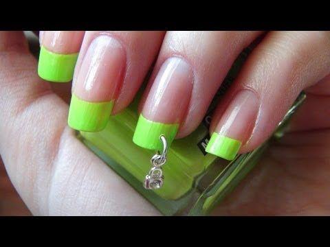Пирсинг ногтей и зелёный френч / Nail Piercing - YouTube