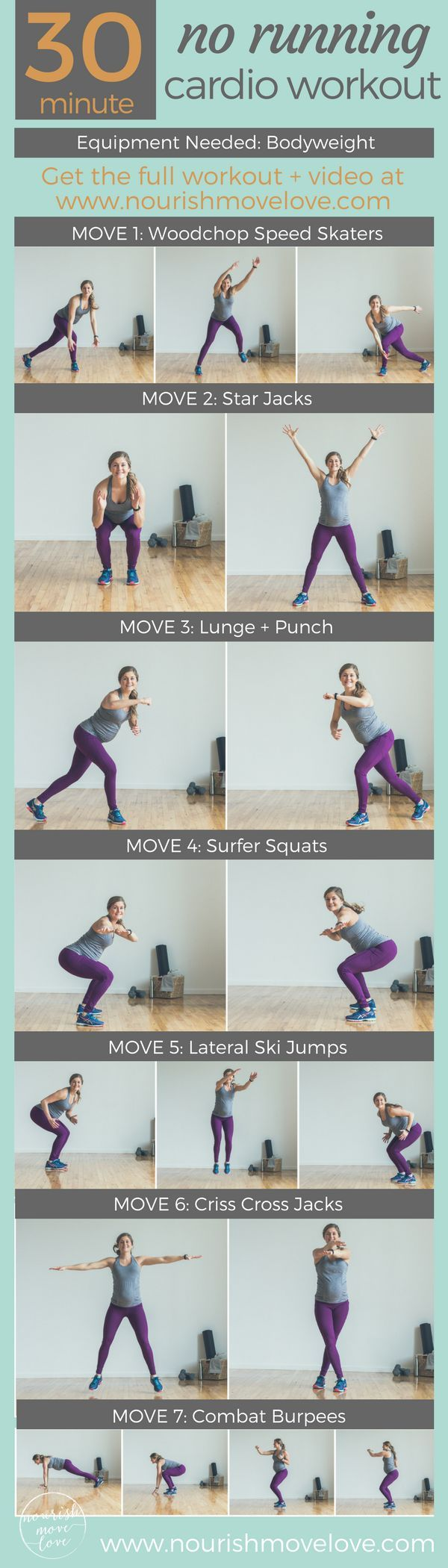 raise your heart rate with these 7 bodyweight exercises for a complete 30-minute, no running at-home cardio workout. Speed skaters, star jacks, lunges, squats, jumping jacks, and burpees for a full body burn. Click to website for full workout + video.