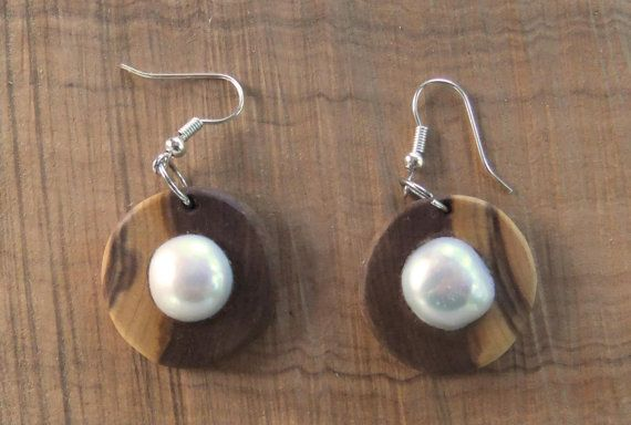 Hand carved Greek Olive wood earrings inlaid by ellenisworkshop, $53.00
