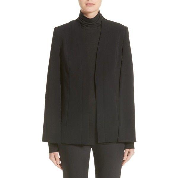 Women's St. John Collection Classic Cady Cape Jacket ($1,295) ❤ liked on Polyvore featuring outerwear, jackets, caviar, stretch blazer, blazer cape, blazer jacket, cape blazer jacket and cape jackets