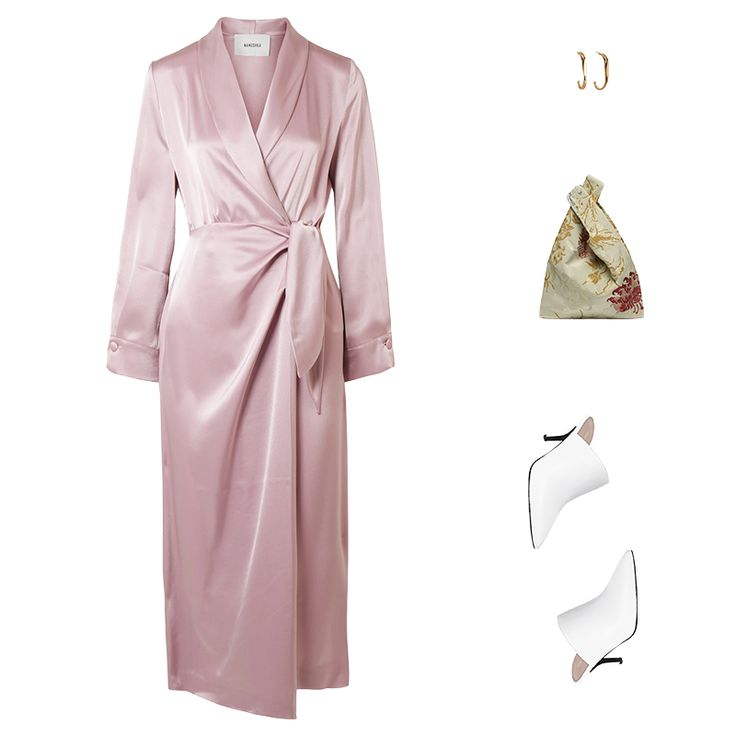 - A silky kimono-style dress is a polished but still sexy spin on pajama dressing. A jacquard shopper and modern hoops lend a dose of whimsy while pristine mules tie the look together.