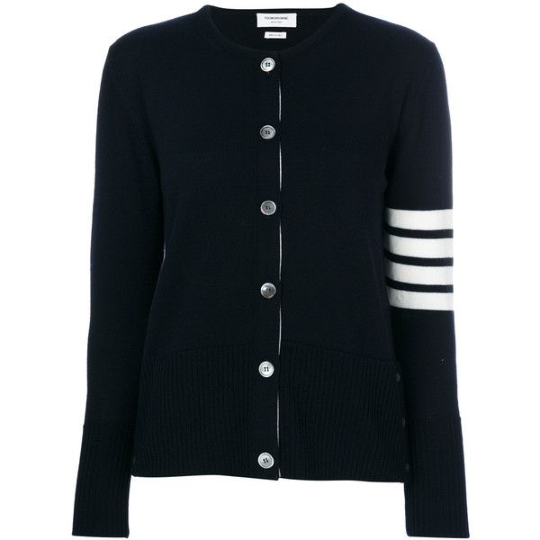 Thom Browne knitted long sleeved cardigan ($1,300) ❤ liked on Polyvore featuring tops, cardigans, blue, thom browne cardigan, sleeve top, blue long sleeve top, blue top and thom browne