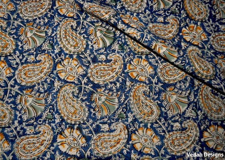Paisley fabric Kalamkari fabric Indian fabric by the yard by VedahDesigns on Etsy
