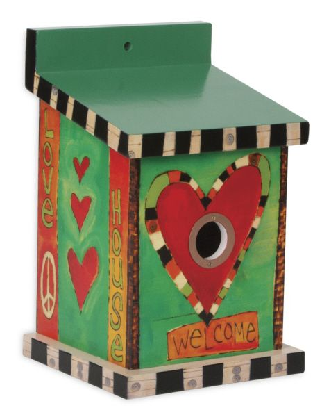"""This+beautiful+Painted+Peace+birdhouse+includes+an+oversized+cleanout+door,+a+1.25""""+hole,+and+holes+for+ventilation. Artist+Name:+Stephanie+Burgess Dimensions:+7""""+X+11.25"""""""