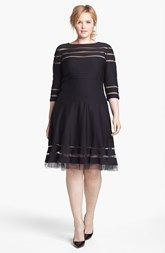 Tadashi Shoji Mesh Stripe Fit & Flare Dress (Plus Size)