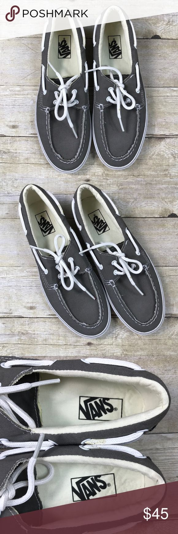 Vans Zapato Del Barco Boat Shoes Gray Slip On 10.5 New without box !!!  Van's men's / women's boat shoes  Zapato Del Barco  Distressed gray canvas slip ons  Men's size 10.5/ women's 12 Vans Shoes Boat Shoes