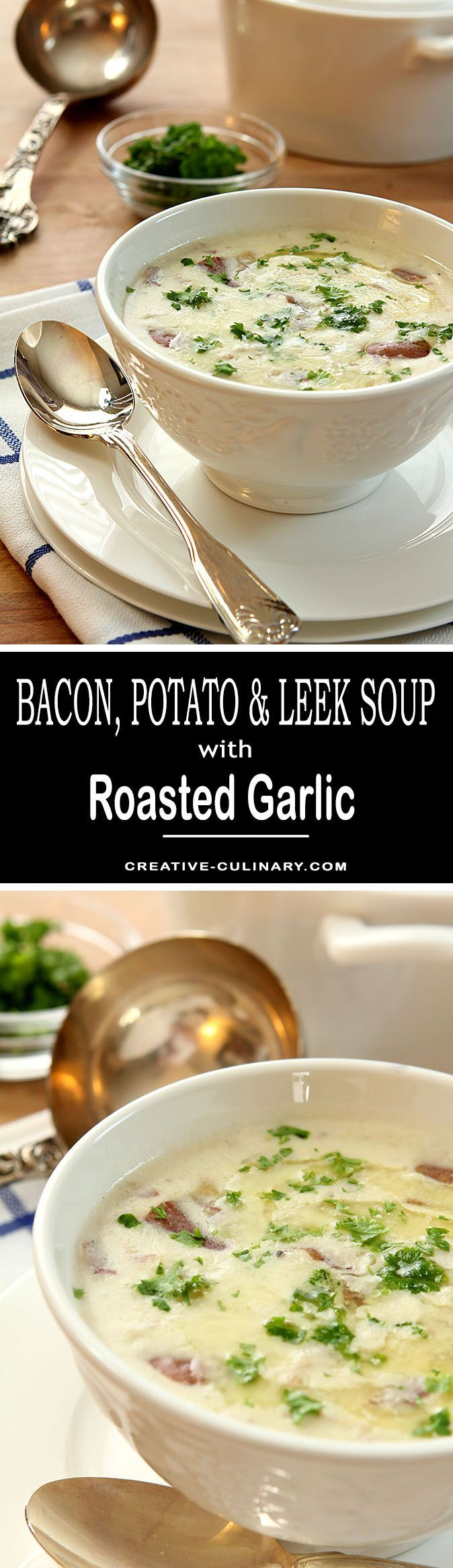 The perfect indulgence during cooler months; this Bacon, Potato and Leek Soup with Roasted Garlic is so warming and satisfying. via @creativculinary