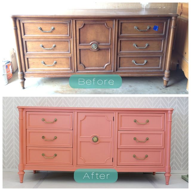 Gorgeous Coral Dresser Sideboard | DIY Upcycle Make Over | Before & After | Shows what you can do with a little creativity & a fair amount of elbow grease!