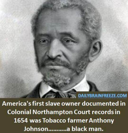 Anthony Johnson - America's 1st documented slave owner - a black man.