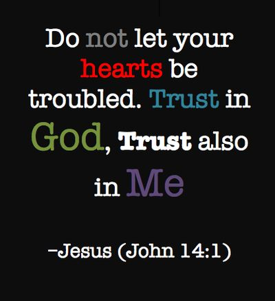 "Jesus said, ""Do not let your hearts be troubled. Trust in God, & Trust also in Me.""-Jesus (John14:1)"