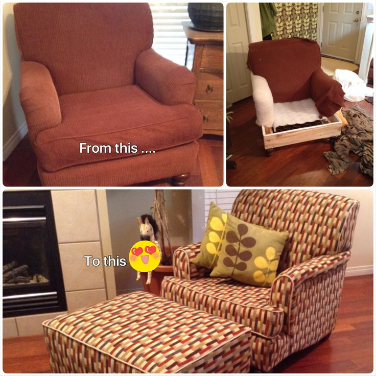 Chair and ottoman reupholster - before and after