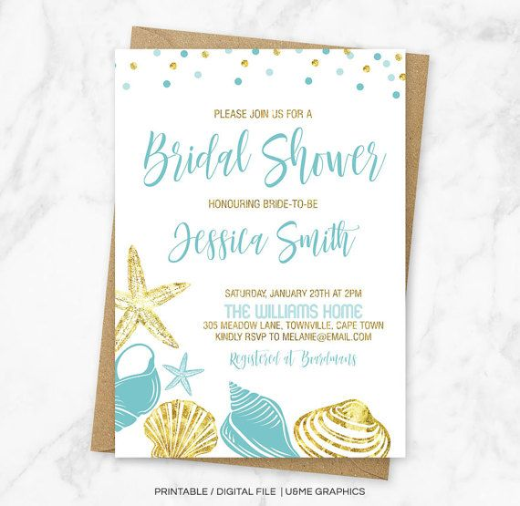Beach Bridal Shower Invitation Bridal Shower by UandMeGraphicsShop