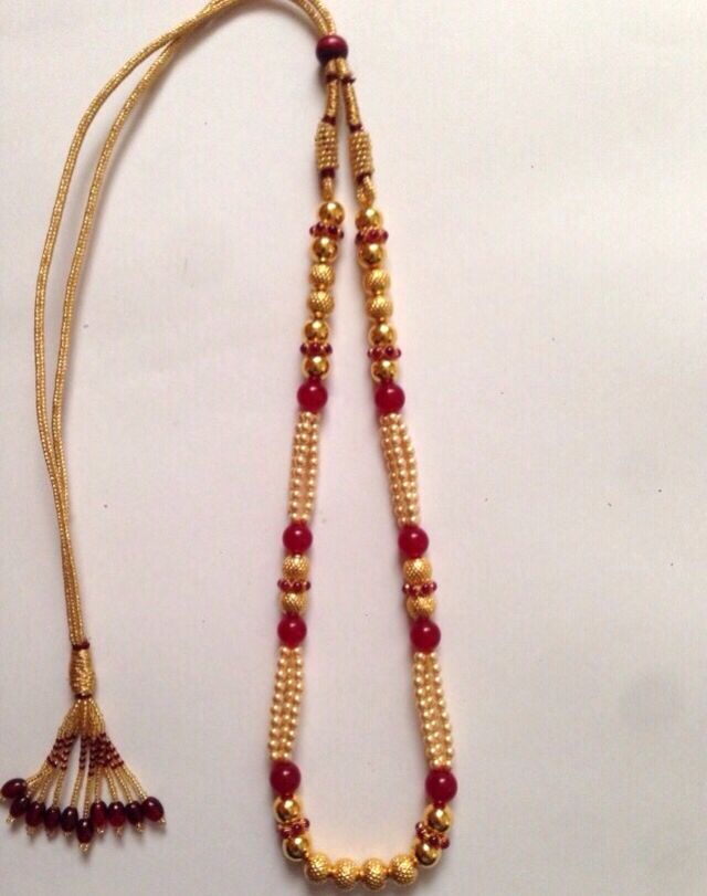 Antique Gold Handmade Swarovski Pearl Beads Wax Mala Kolhapur 916 weight 4-6 Grams Code SMJ 41