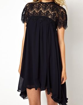 Swing Dress With Lace Top