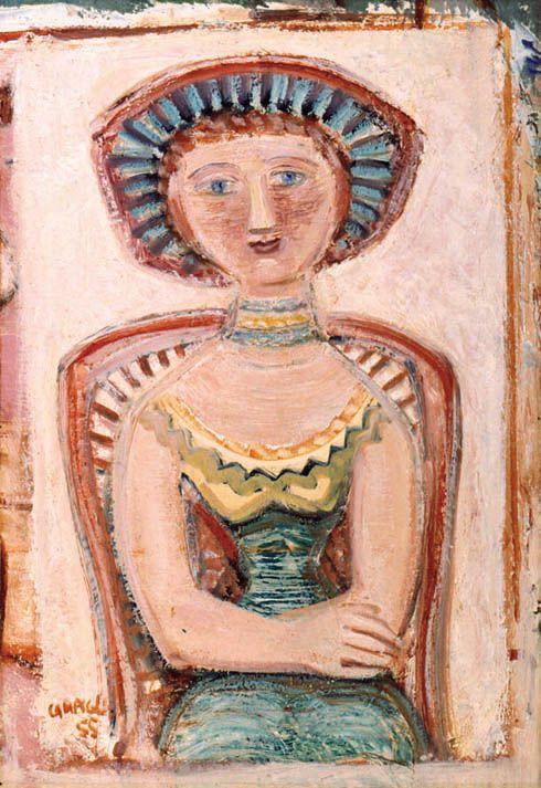 Campigli, Simonetta, 1955, olio su tela, cm 61x42   Make me think of Pirosmani...and frescos :)