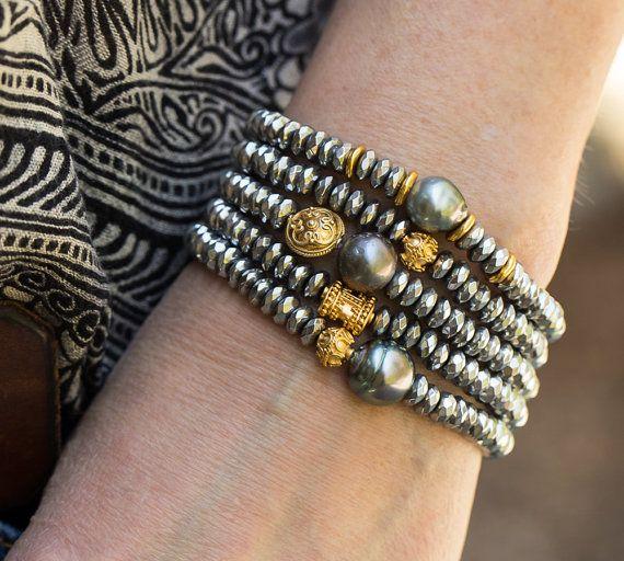 Pearl Bracelets Hematite Bracelets Stack by AlisonStorryJewelry