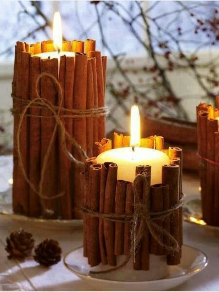 Put cinnamon sucks around your candles. Once they heat up. Your house smells oh so good.