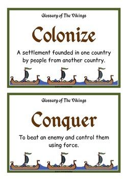 A set of 36 A5 posters that is a glossary of the Vikings. Each poster has a key word heading, making it great for discussion, activities and displays for this historical topic. Visit our TpT store for more information and for other classroom display resources by clicking on the provided links.