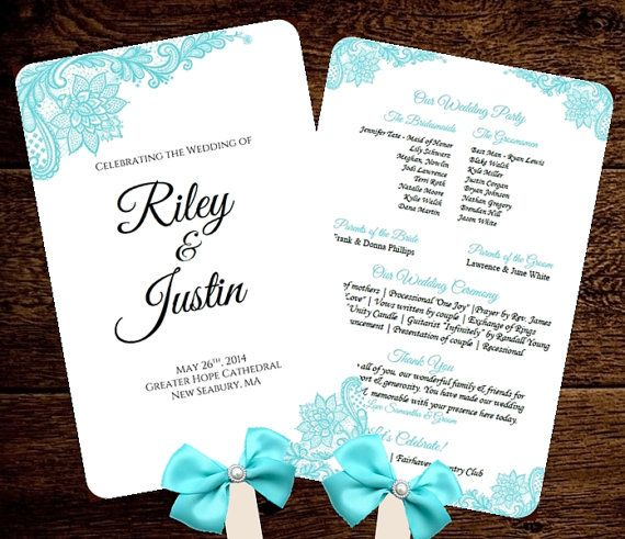 Wedding fan program template printable tiffany blue fan program instant download scroll diy for Wedding program fans templates free