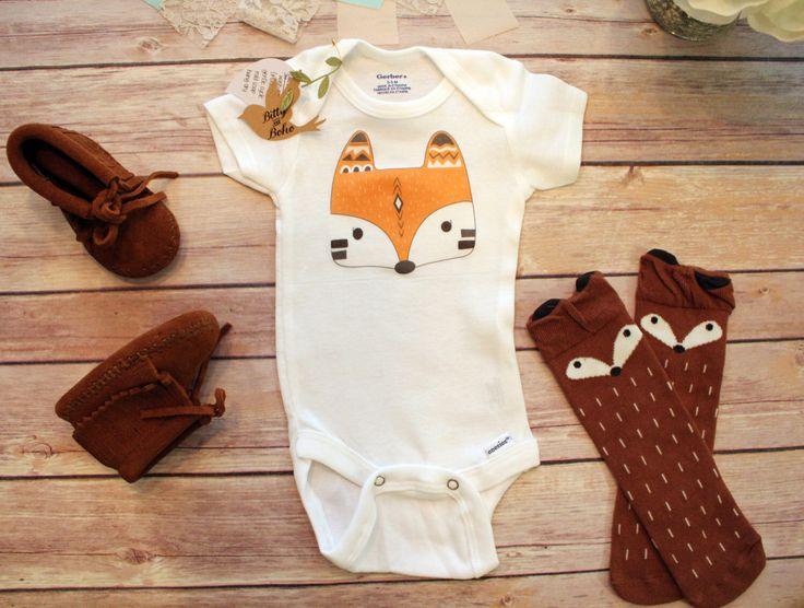 Fox Onesie®, Boho Baby Clothes, Baby Shower Gift, Baby Boy Clothes, Boho Baby Bodysuit, Fox Baby Clothes, Bohemian Baby, Tribal Baby Clothes by BittyandBoho on Etsy https://www.etsy.com/se-en/listing/271462254/fox-onesie-boho-baby-clothes-baby-shower