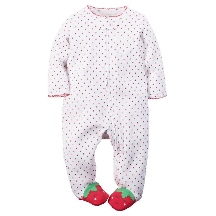 Baby Girl Cotton Zip-Up Sleep & Play, strawberry footie | Carters.com