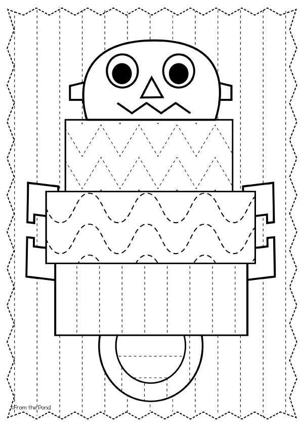 FREE Robot Big Shape Tracing Worksheet