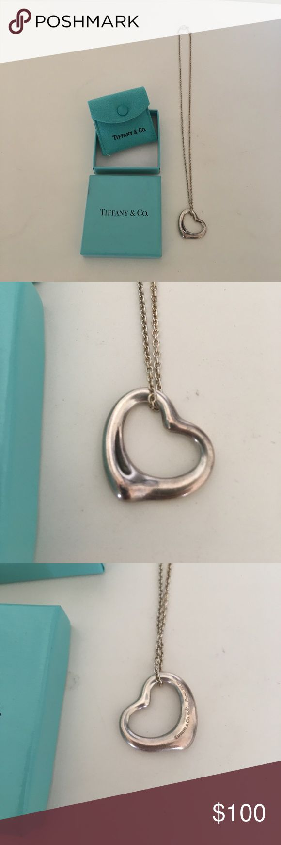 Tiffany heart necklace Sterling silver signature Tiffany heart necklace. With box and pouch. Tiffany & Co. Jewelry Necklaces