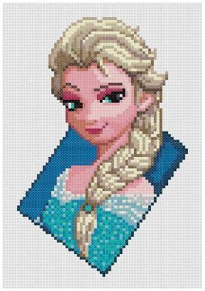 PDF Cross Stitch pattern - 0300.Elsa The Snow Queen (Frozen) - by PDFcrossstitch by dainfo