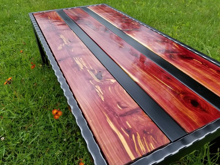 Coffee table expanded metal western red cedar home and