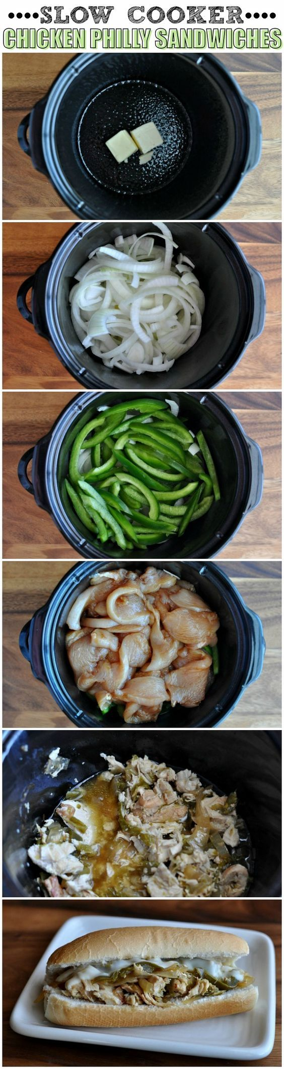 Made this for the family on 4/20/13 but we did not eat until the next day. Flavor was outstanding and was very moist and tender. I replaced the green peepers with peperoncini and used half of an onion. Family loved it. Slow Cooker Chicken Philly Sandwiches Recipe ~ The chicken comes out incredibly tender and so delicious!
