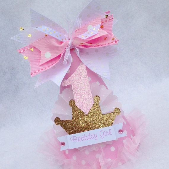 Light Pink and Gold Princess Birthday Party Hat with gold glitter crown on Etsy, $15.50