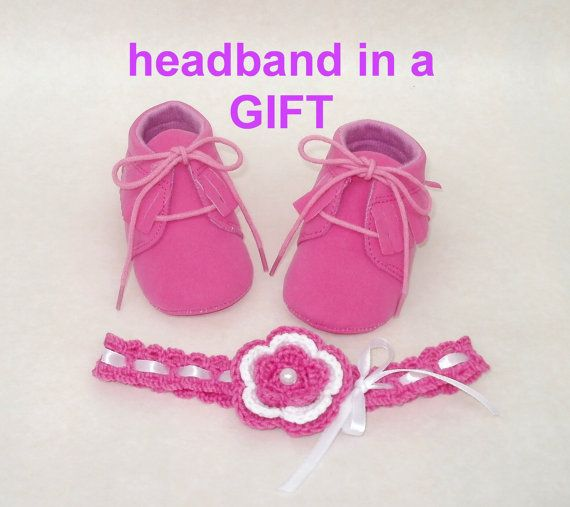 Shoes fuchsia girl booties free headband baby moccs by tappleta