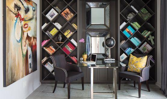 Nice wall mounted bookshelf  with mirror