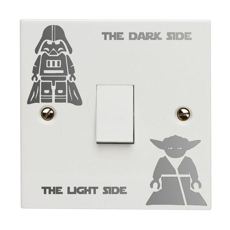 Star Wars Dark Light Side Switch Vinyl Decal Sticker Kid Room Lightswitch Silver