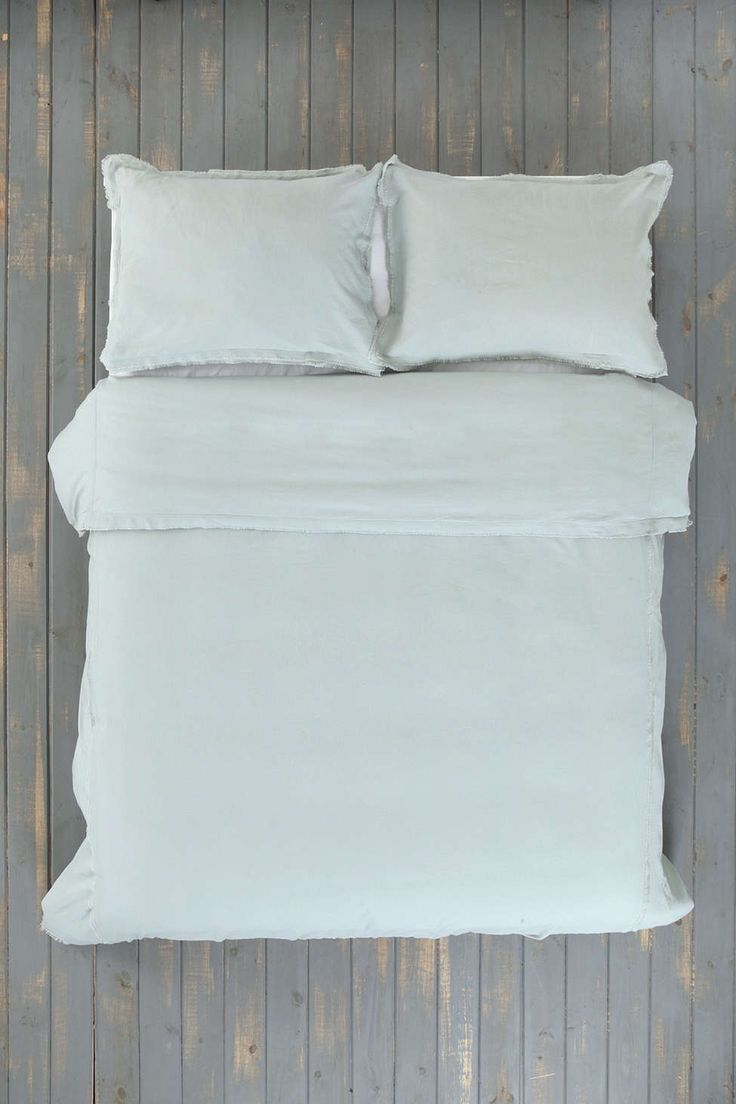 White bed top view - 4040 Locust Frayed Edge Duvet Cover Urban Outfitters