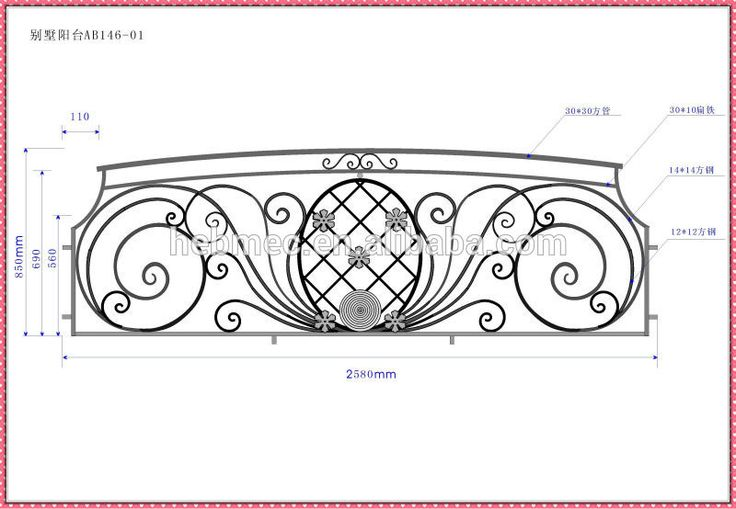 wrought iron steel fence railing balcony grill designs ZZ020