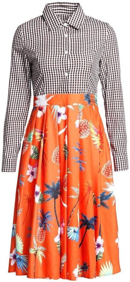 Contrasting Checkered & Tropical Print Dress