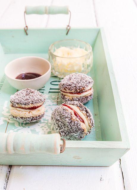 lamingtOn biscuits with raspberry jam & cream