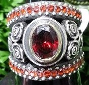 Radiant red - handmade silver ring by Susan Roos