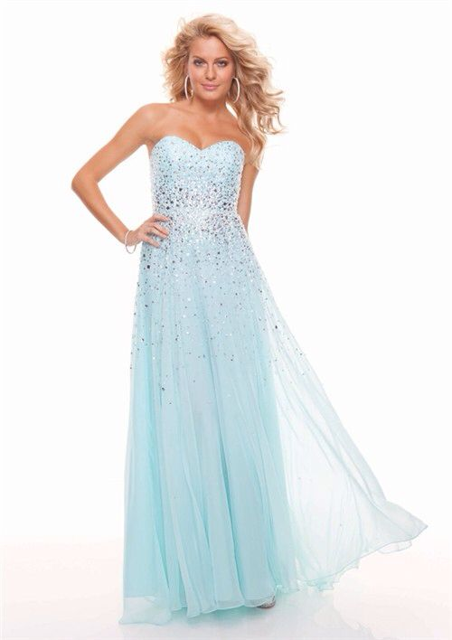 Long Sparkly Baby Blue Sweetheart Sweet Sixteen Prom