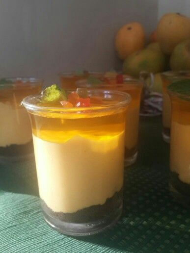 Want to make this king of fruits desert.. then follow my blog n page.. Presenting to u..  Eggless mango cheesecake on a oreo crust..   recipie link - http://www.apinchofpoomslove.com/recipe/eggless-mango-cheesecake-oreo-crust/