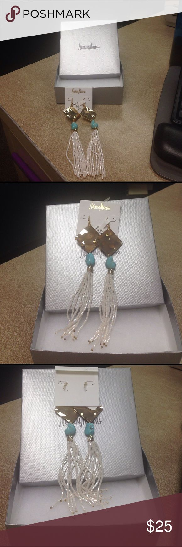 Panache earrings from Neiman Marcus Brand new Gold, White and Turquoise Earrings. Panache bought at Neiman Marcus. Panache Jewelry Earrings