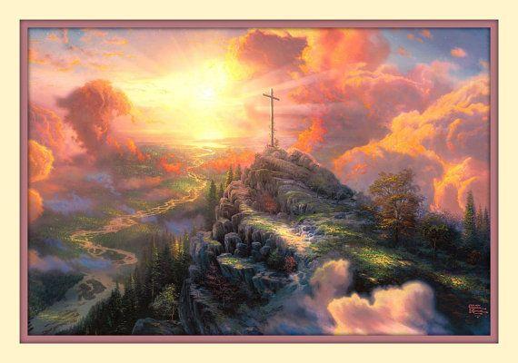 Thomas Kinkade Easter Cross On Mountain By