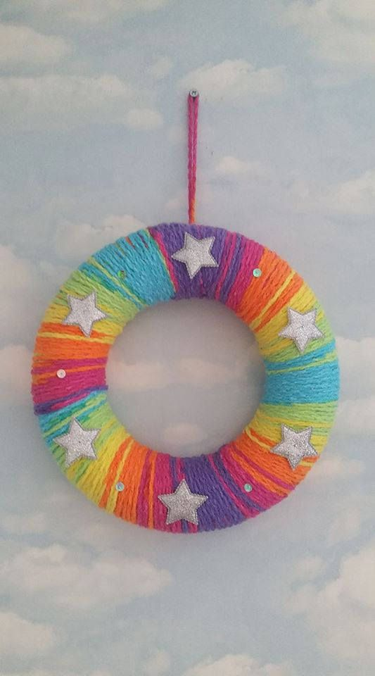 Rainbow Baby Wreath New Baby Gift Hand Crochet with Rainbow