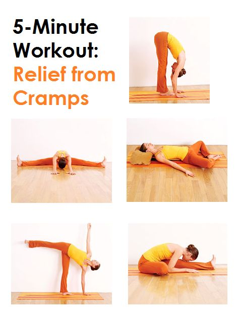 5-Minute Workout: Relief from Cramps    It really works! Just breathe real slow and take our mind off your pain! Half mental, half physical pain.