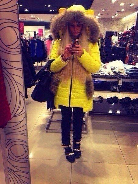 Зимняя куртка пуховик Ушки желтый