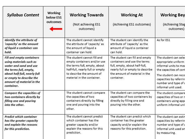 Early Stage One Capacity Assessment Rubric