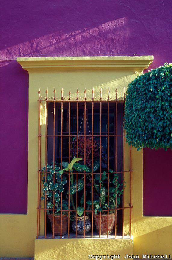 Barred Window, Spanish Colonial House, Old Mazatlan, Sinaloa, Mexico