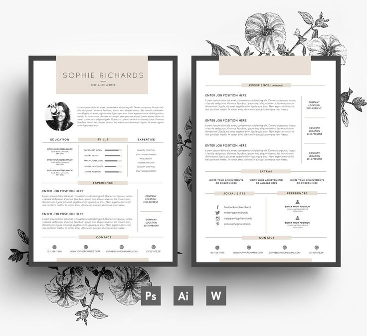 custom resume template   2 page cv   cover letter   psd file