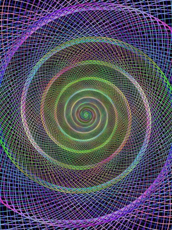 Colorful spiral fractal from ellipses